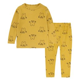 Yellow children pajamas online shopping - Casual Cotton Sanding Child Home Suit Two piece Suit Neutral Tees Suit Cartoon Costume Pullover Trousers