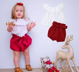 $enCountryForm.capitalKeyWord Australia - Kids Girls Summer Clothes Set Casual Toddler Baby Girl Ruffles Collar White Lace Tops T-shirt+Bow Red Shorts Summer Outfits 1-6Y