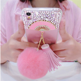 Fan For Iphone Australia - Fan Luxury Glitter Bling Rhinestone Phone Case Soft Tassels Fur Ball Back Cover For Iphone X 4 4S 5S 5C 6 6S PLUS 7 7 PLUS 8PLUS