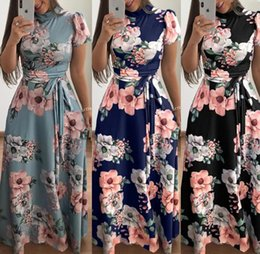 Wholesale bohemian beige maxi dress for sale – plus size Women Floral Dress Styles Bohemia Printed Maxi Dresses Short Long Sleeve Summer Casual Beach Dress O OA6565