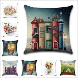 Discount car seat cushions purple - Cartoon book castle reading Cushion Cover Decoration coffee chair Home sofa car seat friend children bedroom gift pillow