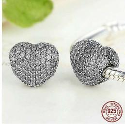Lusso 925 sterling silver spumante cuore clip di fascino fit originale pandora braccialetto collana di perle per le donne gioielli in Offerta