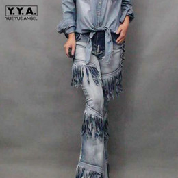 b1ac0683d5 New Fashion Womens Vintage Tassel Bell-bottom Motorcycle Jeans Stretch  Cowboy Pants Tassels Casual Trousers Wide Flared