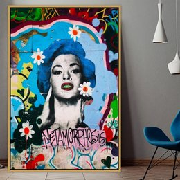 art canvas prints Australia - Marilyn Urban Street Art Graffiti Art Poster Wall Photo Pictures Wall Art Living Room Wall Decor Painting Canvas Print No Frame