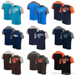 block brown Australia - Color block Detroit Denver Lions Broncos Dallas Cleveland Cowboys Browns Sleeve spelling by Fanatics Branded Iconic Color Blocked T-Shirt