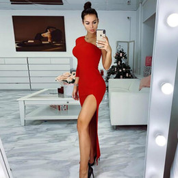 13157cdfed4 New Women Sexy High Split Dresses Slim Fit Ladies Mujer Bodycon Robes Party  Club Butt Long Sleeve One Shoulder Vestidos