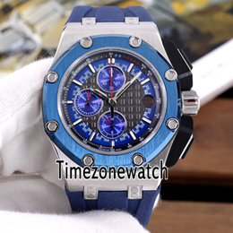 royal brown watches Australia - New Royal 26568PM Two Tone Steel Case Blue Bezel Black Texture Dial VK Quartz Chronograph Mens Watch Blue Rubber Strap Timezonewatch E64c3