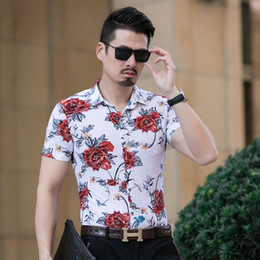mens shorts 7xl Australia - Fashion 2019 Summer Shirt Men High Quality Plus Size Print Mens Casual Shirts Short Sleeve Turn Down Collar Men Shirt Dress 7XL