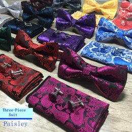 $enCountryForm.capitalKeyWord Australia - New Design Self Bow Tie And Hanky & Cufflinks Set Silk Jacquard Woven Men Butterfly BowTie Pocket Square Handkerchief Suit Wedding