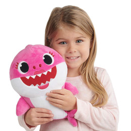 $enCountryForm.capitalKeyWord Australia - PinkFong Baby Shark Stuffed Lighting Shiner Dolls Squeeze Cartoon Plush Toys Singing Sound Soft Doll for Kids Christmas Gift Party Supply