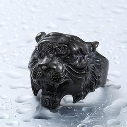Punk Rings Australia - Tiger Head Mens Rings - Stainless Steel engagement rings for Men - (US Size 8-13) Punk Cool HipHop Animal designer ring Jewelry 3 Colors
