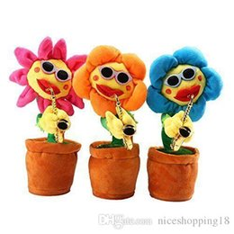 $enCountryForm.capitalKeyWord Australia - lowprice Funny Singing And Dancing Enchanting Sunflower With Guitar Saxophone Creative Electric Musical Stuffed Soft Plush Potted Toy T60