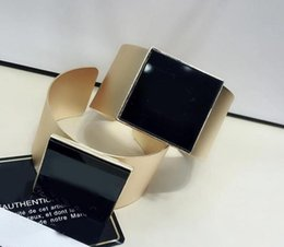 Ladies bangLes stones online shopping - party gift luxury women s ladies females brand C pearl or stone exaggerated punk crystal Acrylic bangles C bracelets wristband with stamp