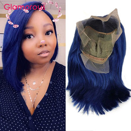 Blue Human Hair Australia - Pre Plucked Blue Lace Front Wig With Baby Hair Natural Hairline Straight Brazilian Remy Short Human Hair Bob Wigs For Black Women