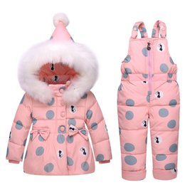 Children Winter Wear NZ - Baby Girl Winter Clothes Sets Hooded Down Jacket Bow Print Overalls Jumpsuits Snow Wear Children Toddler Clothing 1 2 3 Years
