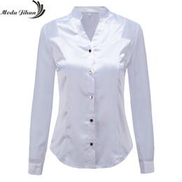 bec9158775ce76 Moda Jihan New Design Women Blouses & Shirts White Black Long Sleeve  Chiffon Splice Satin Office Tops Slim Style V Neck Female Y190510