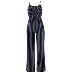 728cc16998 Polyester Spaghetti Strap Party Summer High Waist Women Jumpsuit Wide Leg  Sleeveless Slim Sexy Bowknot Striped Casual Shopping