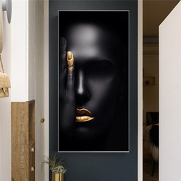 painting faces Canada - Abstract Black Nordic Woman Face Portrait Canvas Painting Posters and Prints Scandinavian Wall Art Picture No Framed