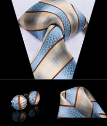 classic silk NZ - Hi-Tie Luxury Design Blue Yellow Stripe Mens Necktie Classic Silk Tie Handkerchief Cufflinks Set Business Party Wedding Tie Set N-3015