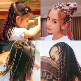 braided colored hair NZ - Children's colored braid tied with String girl's hair coiled with ribbon Girl's braid artifact headpiece in 5pcs