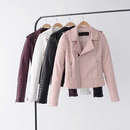 $enCountryForm.capitalKeyWord Australia - New Fashion Pu Leather Jacket Women Casual Short Coat Faux Leather Motorcycle Biker Jacket Coat Women 5 Colors 01-wja65