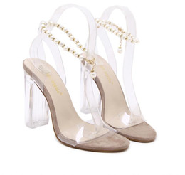 $enCountryForm.capitalKeyWord Australia - Summer fashion beading chain crystal shoes clear transparent thick heel sandals party events size 35 to 40