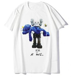 $enCountryForm.capitalKeyWord UK - Summer new fashion blue doll print T-shirt round neck cotton breathable casual wild men and women with the same couple half sleeve