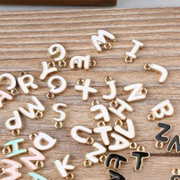 $enCountryForm.capitalKeyWord Australia - 100pcs DIY jewelry bead K gold enamel small alloy accessories charms double-sided letters Charms free shipping