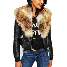 Women Fashion Plus Size Jacket Coat Silm Elegant Solid Long Sleeve Casual Loose Fur Neck Zipper Pockets Coat Jacket #112 on Sale