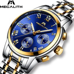 $enCountryForm.capitalKeyWord Australia - Megalith Luxury Luminous Watches Men Waterproof Stainless Steel Analogue Wrist Watch Chronograph Date Quartz Watch Montre Homme J190715