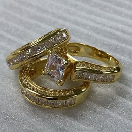Princess Party Ring Australia - Gold color 3pcs set Square Crystal Princess ring Girls party jewelry Wedding engagement rings for women 2019 hot sale