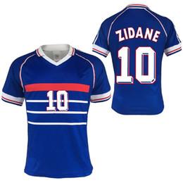 Thailand Quality 98 World Cup Retro Soccer Jersey Zidane 10 Vieira Deshang  National Team Home Blue French football shirt Maillot de Foot bcf52b735