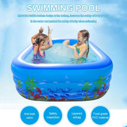 inflatable tub pool UK - 120 130 150 180 210cm Children Bathing Tub Baby Home Use Paddling Pool Inflatable Square Swimming Pool Kids Inflatable Free