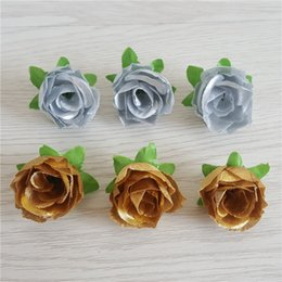 $enCountryForm.capitalKeyWord Australia - Artificial Silk Gold Silver Rose Flower Head for Hat Clothes Album Embellishment Kissing Ball Wedding Deco Bridal Hair Clips Headbands Dress