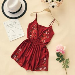 Discount romper red bodysuits - Women Vintage Playsuits New 2019 Summer Floral Embroidery Bohe Style Short Romper Jumpsuits Girls Sexy V-neck Bodysuits