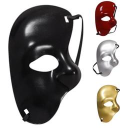 Dress Up Face Australia - Left Half Face Plastic Mask Masquerade Halloween Prom Unisex Masks Cool design Man Party mask dress Up supply drop shipping