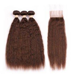 $enCountryForm.capitalKeyWord Australia - #4 Chocolate Brown Coarse Yaki Human Hair Lace Front Closure 4x4 with Weaves Medium Brown Malaysian Kinky Straight Human Hair Bundles Deals