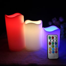 """Wholesale Candles Sale Australia - Hot Sale 3pc lot LED Flameless Candles 4"""" 5"""" 6"""" Pillar Color Changing Remote Glow Wedding Home Bar table Décor LED Candle"""