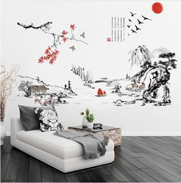 $enCountryForm.capitalKeyWord Australia - Chinese Landscape Mountain-River Ink Painting Calligraphy Wall Decal Home Wallpaper Poster Art Living Room Wall Graphic100x130cm
