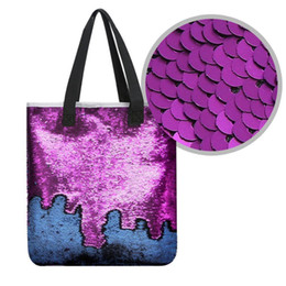Faux Leather Handles Wholesale Australia - Women Girl Female Bar Mermaid Sequined Glier Spangled DIY Shopping Casual Tote Shoulder Bag Top Handle Travel Sequins Bag