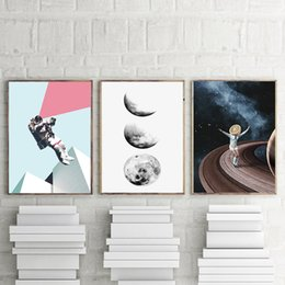 AbstrAct pAintings for bedroom online shopping - Nordic Style Astronaut Space Poster and Prints On Moon Wall Art Canvas Painting Gift for Her For Bedroom Pictures Home Decor