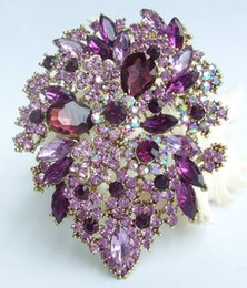 Rhinestone leaf bRooch online shopping - Classic quot Purple Austrian Crystal Flower Leaf Brooch Pin Pendant EE03905C6