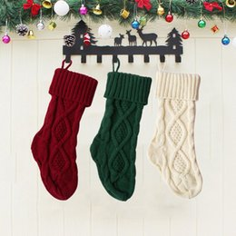knitted gift bags Canada - Knitted Christmas Stockings Christmas Candy Gift Bag Fireplace Decoration Decorations For Home