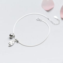 $enCountryForm.capitalKeyWord NZ - wholesale 925 Sterling Silver Anklet Women Barefoot Leg Chain Cute Cat & Bell Charm Beach Foot Jewelry