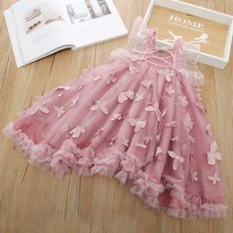 Gauze balls online shopping - 2019 Summer Girls dresses kids stereo butterfly applique princess dress girls lace gauze embroidery butterfly wings party dresses F7345