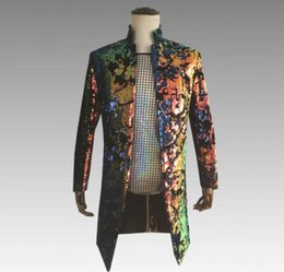 Men's Clothing Suits & Blazers Cheap Sale Turnable Sequin Blazer Men Long Suit Designs Stage Singers Jacket Mens Clothes Dance Star Style Colorful Laser Dress Fashion