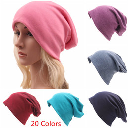 bb6e21db6e0733 Cotton Beanie Sport Hat Mens Womens Hip_hop Soft Slouchy Bonnet Chemo Cap  Stretchy 20 styles solid colors