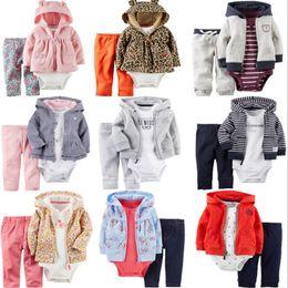 Winter Baby Suit Designs Australia - Baby Hooded Outfits Cotton Kids Hoodie Coat Romper Pants 3PCS Sets Floral Girls Suits Boutique Boy Clothing Sets 8 Designs YW1992