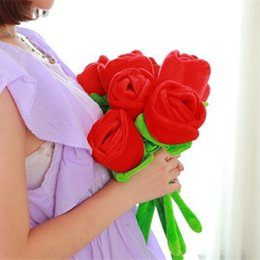 plush stuffed roses UK - 1 5 10 Plush Rose Flower Bouquet Valentine's Gift Stuffed Toy For Wedding Decoration