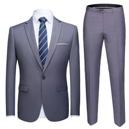 $enCountryForm.capitalKeyWord Australia - 2019 Asian Size Mens Suits Set Grey Formal Blazer Pants Marriage Tuxedo Male 2 Piece Suit Set Terno Wedding Mens Suit Slim Fit